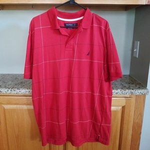 Nautica red blue polo shirt mens Large